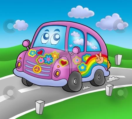 Hippie car on road stock photo, Hippie car on road - color illustration. by Klara Viskova