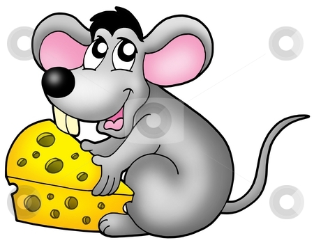 Cute mouse holding cheese stock photo, Cute mouse holding cheese - color illustration. by Klara Viskova