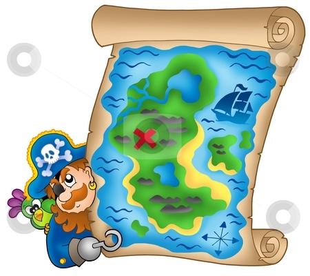 Treasure map with lurking pirate stock photo, Treasure map with lurking pirate - color illustration. by Klara Viskova