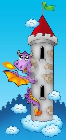 Purple dragon on castle tower stock photo, Purple dragon on castle tower - color illustration. by Klara Viskova