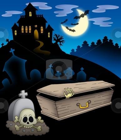 Cemetery with haunted house stock photo, Cemetery with haunted house - color illustration. by Klara Viskova