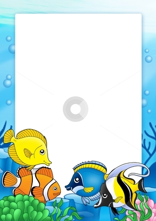 Frame with tropical fishes 1 stock photo, Frame with tropical fishes 1 - color illustration. by Klara Viskova