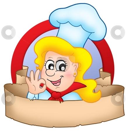 Cartoon chef woman logo with banner stock photo, Cartoon chef woman logo with banner - color illustration. by Klara Viskova
