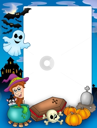 Halloween frame 1 stock photo, Halloween frame 1 - color illustration. by Klara Viskova