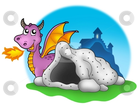 Purple dragon with cave stock photo, Purple dragon with cave - color illustration. by Klara Viskova