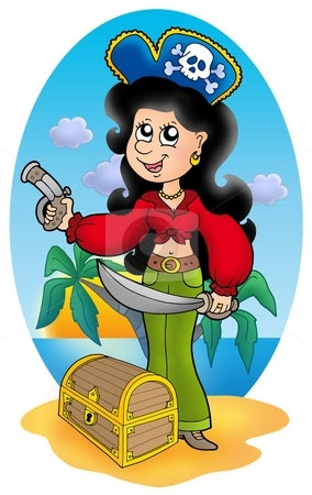 Cute pirate girl with treasure chest stock photo, Cute pirate girl with treasure chest - color illustration. by Klara Viskova
