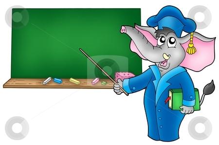 Cartoon elephant teacher with blackboard stock photo, Cartoon elephant teacher with blackboard - color illustration. by Klara Viskova