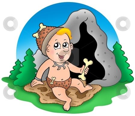 Cartoon prehistoric baby before cave stock photo, Cartoon prehistoric baby before cave - color illustration. by Klara Viskova