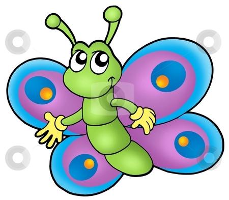 Small cartoon butterfly stock photo, Small cartoon butterfly - color illustration. by Klara Viskova