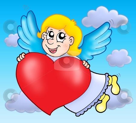 Cupid on sky stock photo, Cupid on sky - color illustration. by Klara Viskova