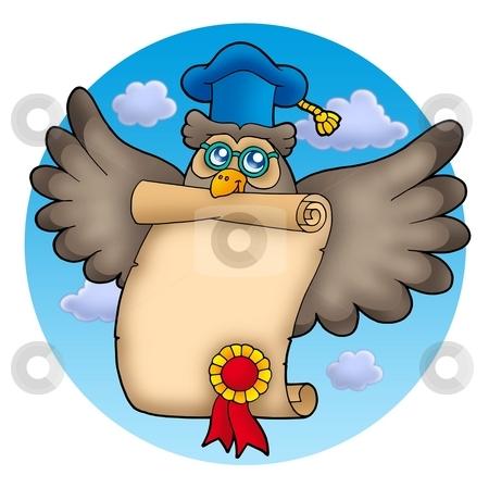Owl teacher with diploma on sky stock photo, Owl teacher with diploma on sky - color illustration. by Klara Viskova