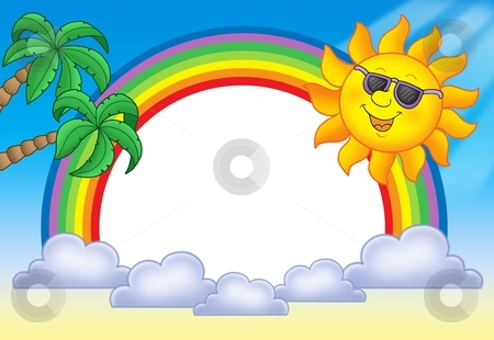 Frame with Sun and rainbow stock photo, Frame with Sun and rainbow - color illustration. by Klara Viskova