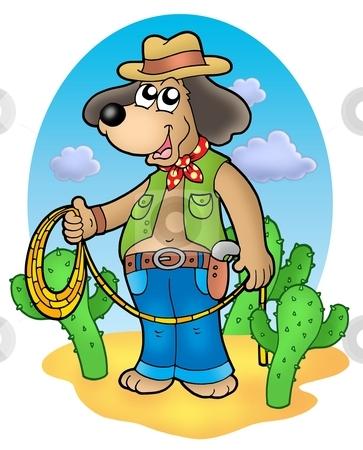 Cowboy dog with lasso in desert stock photo, Cowboy dog with lasso in desert - color illustration. by Klara Viskova