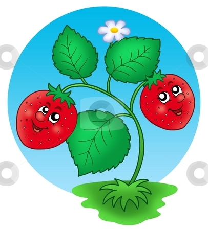 Cute smiling strawberry stock photo, Cute smiling strawberry - color illustration. by Klara Viskova