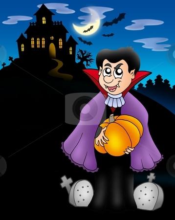 Vampire with pumpkin before house stock photo, Vampire with pumpkin before house - color illustration. by Klara Viskova