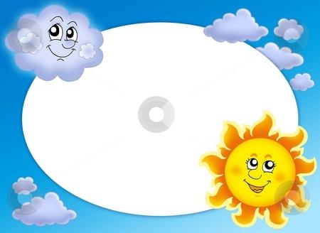 Round frame with Sun and cloud stock photo, Round frame with Sun and cloud - color illustration. by Klara Viskova