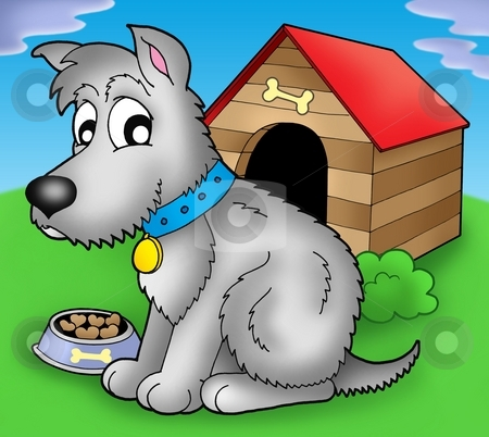 Grey dog in front of kennel stock photo, Grey dog in front of kennel - color illustration. by Klara Viskova