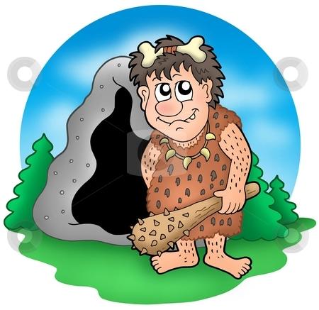 Cartoon prehistoric man before cave stock photo, Cartoon prehistoric man before cave - color illustration. by Klara Viskova