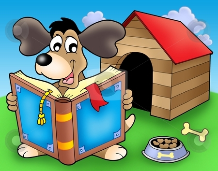 Dog with book in front of kennel stock photo, Dog with book in front of kennel - color illustration. by Klara Viskova