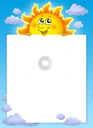 Frame with cute lurking Sun stock photo, Frame with cute lurking Sun - color illustration. by Klara Viskova
