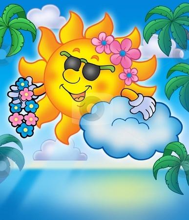 Hawaiian sun with palms stock photo, Hawaiian sun with palms - color illustration. by Klara Viskova