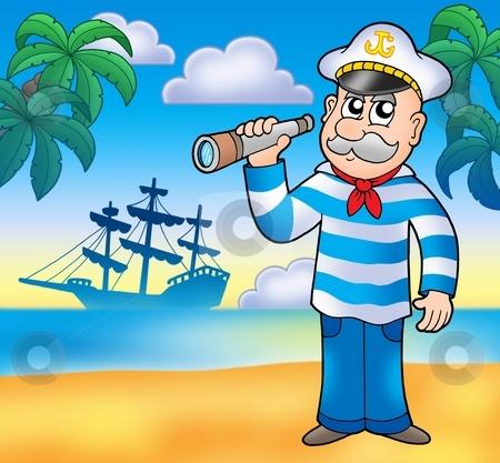 Sailor with spyglass on beach stock photo, Sailor with spyglass on beach - color illustration. by Klara Viskova