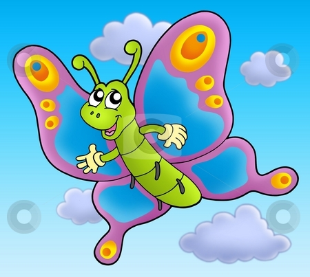 Cute cartoon butterfly on sky stock photo, Cute cartoon butterfly on sky - color illustration. by Klara Viskova