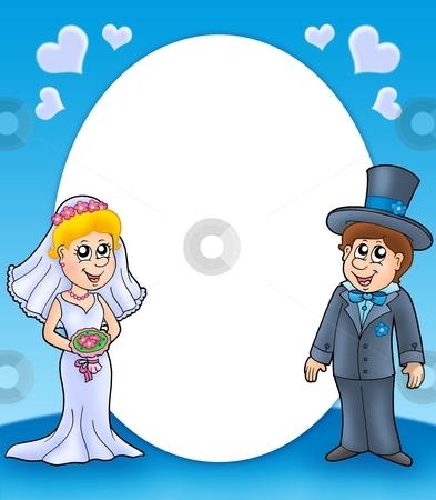 Round frame with bride and groom stock photo, Round frame with bride and groom - color illustration. by Klara Viskova