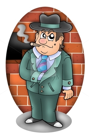 Cartoon gangster with wall stock photo, Cartoon gangster with wall - color illustration. by Klara Viskova