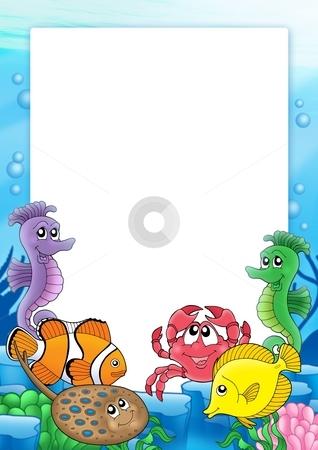 Frame with tropical fishes 2 stock photo, Frame with tropical fishes 2 - color illustration. by Klara Viskova