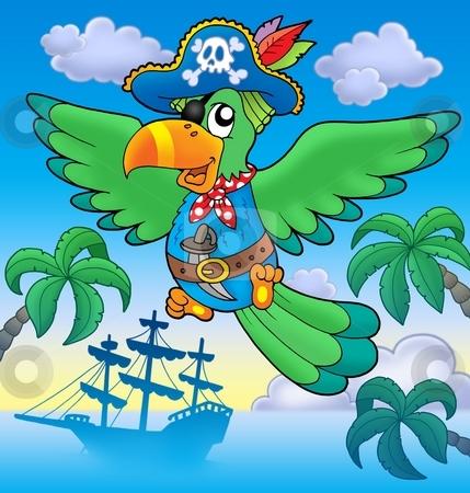 Flying pirate parrot with boat stock photo, Flying pirate parrot with boat - color illustration. by Klara Viskova