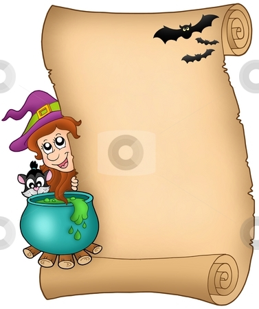 Halloween parchment 3 stock photo, Halloween parchment 3 - color illustration. by Klara Viskova