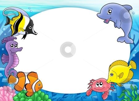 Round frame with tropical fishes stock photo, Round frame with tropical fishes - color illustration. by Klara Viskova