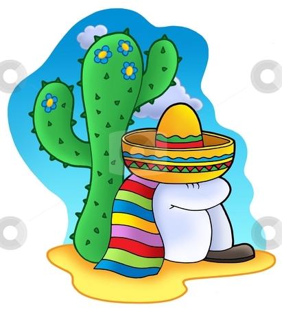 Sleeping Mexican stock photo, Sleeping Mexican - color illustration. by Klara Viskova