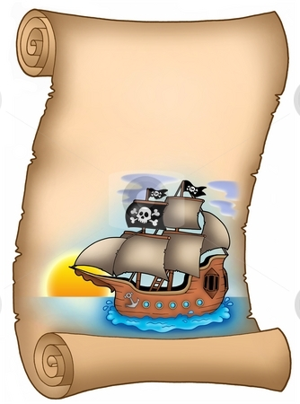 Parchment with pirate ship stock photo, Parchment with pirate ship - color illustration. by Klara Viskova
