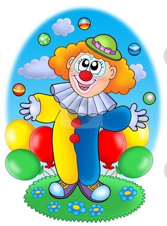 Juggling cartoon clown with balloons stock photo, Juggling cartoon clown with balloons - color illustration. by Klara Viskova
