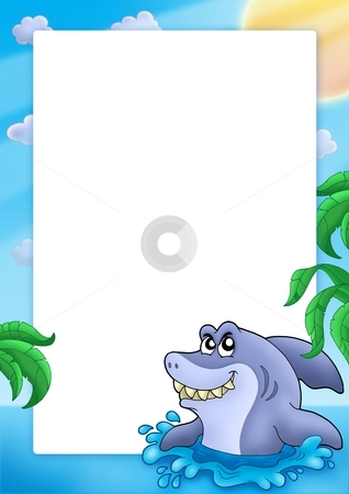 Frame with shark stock photo, Frame with shark - color illustration. by Klara Viskova