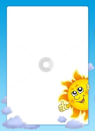Frame with cartoon lurking Sun stock photo