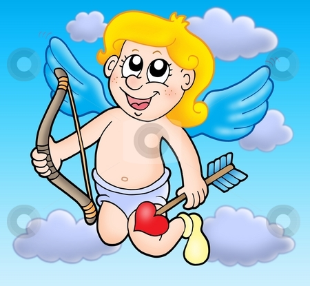Small flying cupid with bow stock photo, Small flying cupid with bow - color illustration. by Klara Viskova