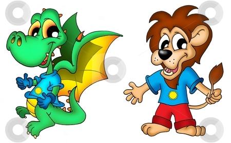Cartoon dragon and lion stock photo, Cartoon dragon and lion - color illustration. by Klara Viskova