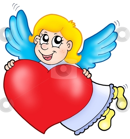 Smiling cupid with heart stock photo, Smiling cupid with heart - color illustration. by Klara Viskova