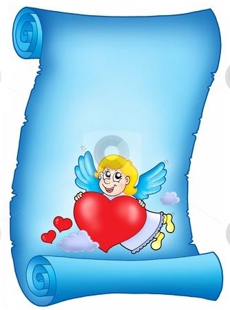 Valentine blue letter with flying cupid stock photo, Valentine blue letter with flying cupid - color illustration. by Klara Viskova