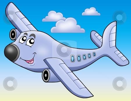 Cartoon airplane on blue sky stock photo, Cartoon airplane on blue sky - color illustration. by Klara Viskova