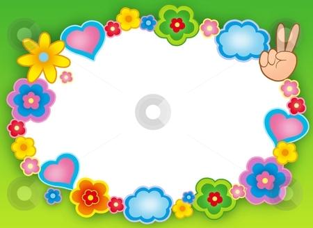 Round hippie frame with flowers stock photo, Round hippie frame with flowers - color illustration. by Klara Viskova