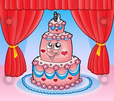 Cartoon wedding cake with curtains stock photo, Cartoon wedding cake with curtains - color illustration. by Klara Viskova