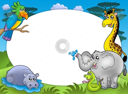 Round frame with African animals stock photo, Round frame with African animals - color illustration. by Klara Viskova