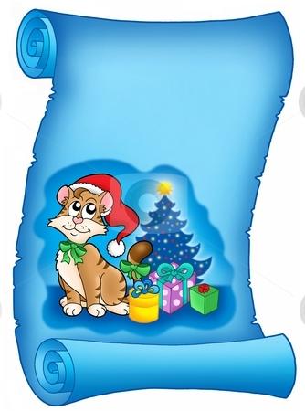 Blue parchment with Christmas cat stock photo, Blue parchment with Christmas cat - color illustration. by Klara Viskova