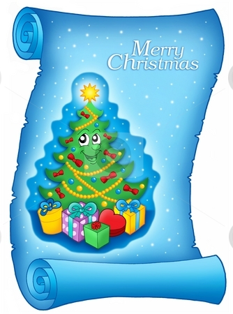 Blue parchment with Christmas tree stock photo, Blue parchment with Christmas tree - color illustration. by Klara Viskova