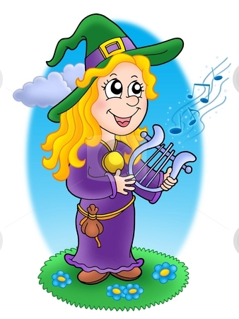 Cute witch with lyre stock photo, Cute witch with lyre - color illustration by Klara Viskova