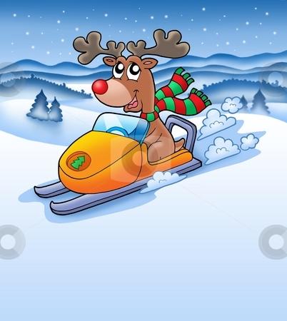 Christmas reindeer in snowy landscape stock photo, Christmas reindeer in snowy landscape - color illustration. by Klara Viskova